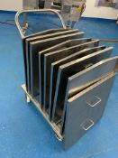 9 x stainless steel Orbital Tote Bin lids on custom trolley