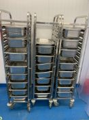 3 x Metos stainless steel rack trolleys with 23 drainers and 1 tray