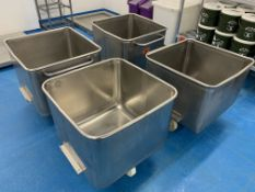 4 x Orbital stainless steel Tote Bins 670 x 670 x 50 mm