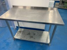 Stainless steel two tier prep table with lip back 122cm x 61 cm