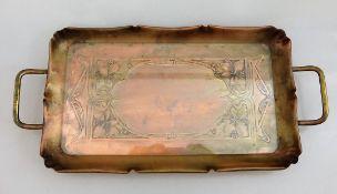 WMF Jugendstil Tablett, Straußenmarke, Kupfer, seitlich 2 Handhaben aus Messing, mit