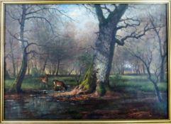 Weber, Paul Gottlieb Daniel (1832 Darmstadt - 1916 München), Öl/Lw., Rehe an einem