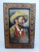Giardello, Giuseppe (1877-1920 Neapel), Neapolitanischer Fischer mit Strohhut, Öl/Holz, u.