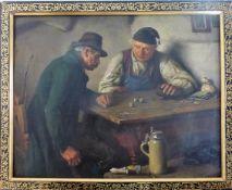 Lindenschmitt, Hermann (1857 Frankfurt / Main - 1939 München), Öl/Lw., Bauern beim