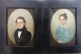 Paar Biedermeier Portraits, Mitte 19.Jh., Öl/Lw., dargestellt Selma Amalia Höhlig (1822 -