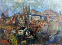 Seufert, Th., deutscher Maler, Gemälde, Öl/Malplatte, Ansicht von Bamberg, 20.Jh.,