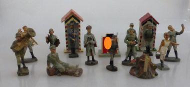 Konvolut Massesoldaten, deutsch 1930er Jahre, tlw. gem. Elastolin / Lineol u.a., darunter