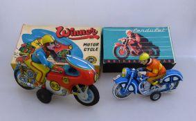 2x Blechmotorrad, Winner Motor Cycle, OMI - Oriental Metall Industries, Made in India,