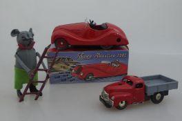 Blechspielzeug, 3x Schuco, Tanzmaus mit Leiter (diese besch.), Made in US-Zone, Varianto -