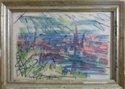 """Versl, Josef (1901 Landshut - 1993 Würzburg), Tusche / Farbkreide, """"Blick auf Würzburg"""","""