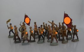Konvolut Massesoldaten, SA / HJ, deutsch 1930er Jahre, tlw. gem. Elastolin / Lineol u.a.,