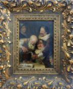 """Poithe, M., deutscher Maler des 19./20.Jh., Öl/Holz, """"Lustige Herrenrunde"""", fein"""