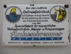 """Reklameschild, """"Aschenbrenner Kötzting"""", Emailleschild, 1950er Jahre, Spezialfabrik für"""