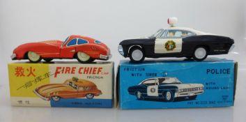 Blechspielzeug, Ichiko - Made in Japan, Polizeiwagen, Frikitonsantrieb, im OK, unbespielt,