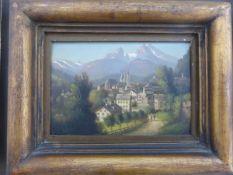 Deutscher Maler des 20.Jh., Öl/Holz, Ansicht von Berchtesgaden um 1900, unsign., 30cm x