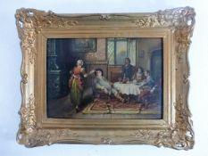 """Gemälde um 1900, Öl/Hartfaser, """"Gesellige Herrenrunde in einem Salonzimmer"""", li.u."""
