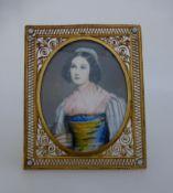 Elfenbeinminiatur um 1920, Portrait der Helene Sedlmayr (1813 - 1898), Gouache auf