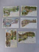 6 Postkarten Würzburg, alle Karten gel., Lithografien, Gasthäuser - Weinhaus Sandhof, Cafe