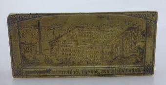"""Seltene Druckplatte """"Tabakfabrik von Joseph Schürer in Würzburg"""", Ansicht des"""