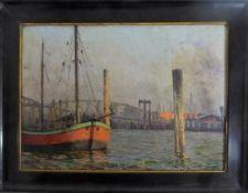 Bauer, H., deutscher Maler, Öl/Malplatte, Hamburger Hafen, re.u.sign. u. dat. 1911, min.