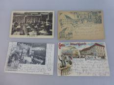 4 Postkarten Würzburg, 3 Karten gel., Gasthäuser - Dotzauer's Weinstube (beschn.),
