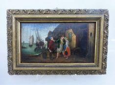 Kleines Tafelgemälde, wohl um 1800, Kauffahrtei - Szene, Öl/Holz, Craquele, i.R. 25cm x