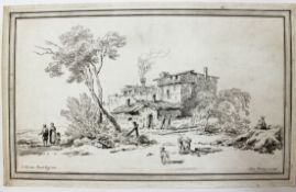 """Radierung - Adam VON BARTSCH (1757 Wien 1821) """"Landschaft mit Dorfansicht und Personenstaffage"""","""