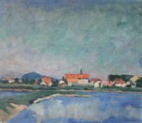 """Gemälde - Max Wissner (1873 Geiersberg/Böhmen - 1959 Regensburg) """"Flusslandschaft bei Weichs"""", siehe"""