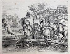 """Radierung - Sebastian Bourdon (1616 Montpellier -1671 Paris) """" Flucht nach Ägypten """","""