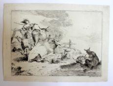 "Radierung - Domenico Bernardo Zilotti (um 1730 bei Bassano - 1780(1795) Venedig) ""Junger Hirte am"