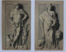 """Paar Stiche - Hubertus Quellinus ( 1619 Antwerpen 1687) """"Merkur und Kybele"""", r.u. monogrammiert H."""