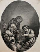 """Kupferstich - Jonas SUYDERHOEF (Niederlande c.1613-1686) """"Wollspinner bei der Rast"""", nach Adrian van"""