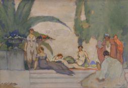 "Gemälde - Max Wissner (1873 Geiersberg/Böhmen - 1959 Regensburg) ""Komposition mit Festgesellschaft"","