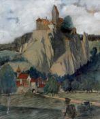 """Gemälde - Max Wissner (1873 Geiersberg/Böhmen - 1959 Regensburg) """"Wanderer vor Schlossanlage"""", 1905,"""