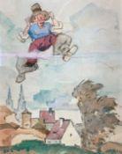 """Mischtechnik - Max Wissner (1873 Geiersberg/Böhmen - 1959 Regensburg) """"Siebenmeilenstiefel, vor"""