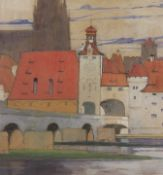 "Großes Aquarell - Max Wissner (1873 Geiersberg/Böhmen - 1959 Regensburg) ""Regensburg - Stein. Brücke"