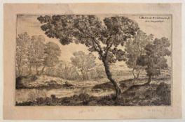 """Radierung - Jean Bechon de Rochebrune (tätig in Frankreich um 1650) """"Flußlandschaft mit Angler"""", r."""