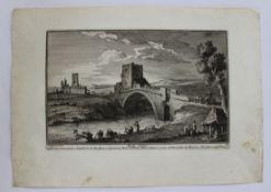 "Radierung - Giuseppe VASI (1710 Corleone / Sizilien -1782 Rom) ""Ponte Salaro"", l.u.. G. Vasi dis."