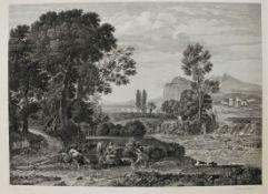 """Radierung - Friedrich Geissler (1778 Nürnberg 1853) """"Südliche Ideallandschaft mit Personenstaffage"""