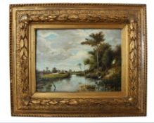 """Gemälde - Anonym (19./20.Jahrhundert) """"Frühlingslandschaft mit Flusslauf und Dorfansicht, im"""