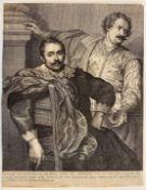 """Radierung - Wenzel Hollar (1607 Prag - 1677 London) """"Portrait der flämischen Künstler Lucas und"""