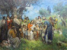"""Großes Gemälde - Ferdinand Leeke (1859 Burg bei Magdeburg - 1923 Nürnberg) """"Lasset die Kinder zu mir"""