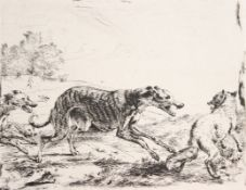 """Radierung - wohl nach Abraham Hondius (1631 Rotterdam - 1691 London) """"Fuchsjagd"""", gest. wohl von Drk"""