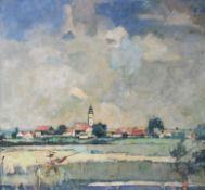 """Gemälde - Max Wissner (1873 Geiersberg/Böhmen - 1959 Regensburg) """"Mann mit Stechruder in"""