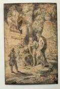 """Zeichnung - wohl französisch 18.Jahrhundert """"Die vier Weisen"""", unsigniert, nach Giovanni Benedetto"""