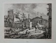 """Radierung - Jean-Jacques DE BOISSIEU (1736 Lyon 1810) """"Vue de Saint-Andéol"""", Plattenmonogramm und"""