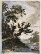 """Radierung - Johann Daniel HEIMLICH (1740 Straßburg -1796) """"Flusslandschaft mit Personenstaffage"""","""