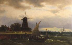 """Gemälde - Franz Carl HERPEL (1850 Woroneh -1933 Königsberg) """"Ansicht Hafenstadt, im Vordergrund"""