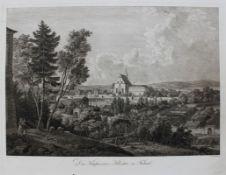 "Radierung - Johann Christoph ERHARD (1795 Nürnberg -1822 Rom) ""Das Kapuziner-Kloster zu Fulnek "", r."