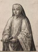 """Kupferstich - Johan WIERIX (c.1549 Antwerpen c.1615) """"Nonne mit Buch"""", r.u. Plattensignatur,"""